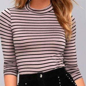 NWT Lulus Anything is Posh-ible Mauve Striped Top